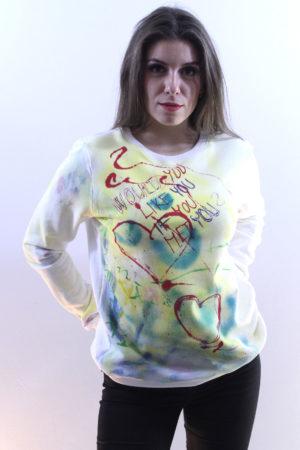 Smetanová mikina s originální autorskou malbou